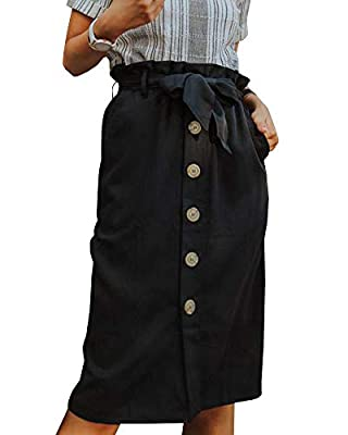 Womens High Waist Button Up Skirt Belted Knee Length Midi Ruffle Waist Pencil Slim Fit Work Casual Cotton Skirts