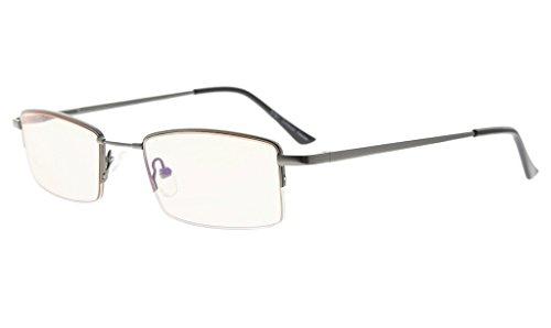 Eyekepper Half-rim Memory Titanium Bridge Reading Glasses For Video Games Blue Light Blocking Readers Amber Tinted Lenses - Videogame Glasses
