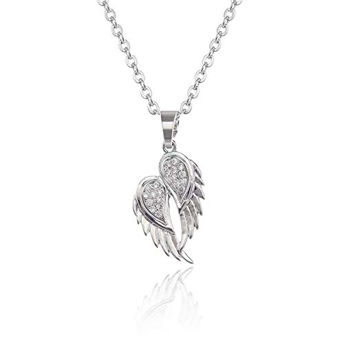 AMYJANE Angel Wing Charm Pendant Necklace - Silver Small Crystal Guardian Angel Wings Wing Pendant Necklace Inspirational Religious Jewelry Gifts for Women Teens Girls