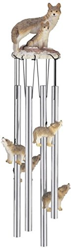 StealStreet SS-G-41368, Round Top Wolf Family Wolves Garden Decoration Wind Chime