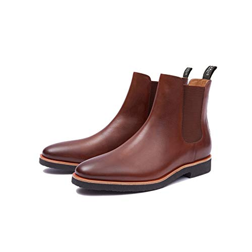 Leather Crepe Boots - New Republic Men's Huxley Leather Chelsea Boot with Crepe Outsole - Tan (8.5)
