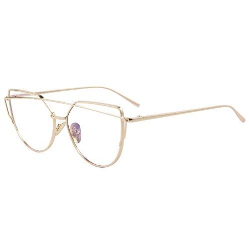 MERRY'S Fashion Women Cat Eye Sunglasses Coating Mirror Lens Sun glasses UV400 S7882 (Gold&Transparent, 56)
