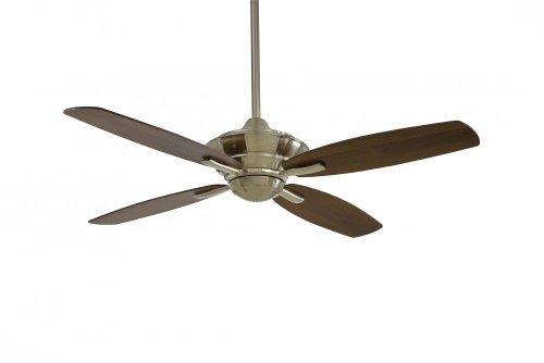 Minka Aire F513-BN, New Era Brushed Nickel Finish Energy Star 52-inch Ceiling Fan with Remote Control, 4 Dark Walnut Blades
