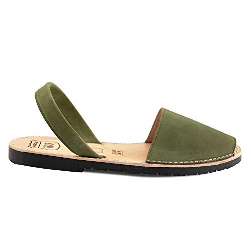 Avarcas Sandals for Women - Handmade in Spain with Natural Leather- Slip on/Slingback Flats (US 9 (EU 39), Dark Olive)