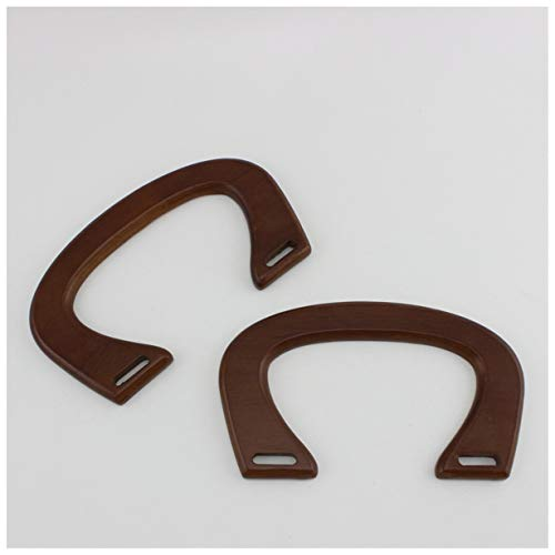 Ownstyle Wood Purse Handle U Style Bridge Shaped Handles Natural Solid Wood Women Straw Bags Purse Wooden Handle Crafts Purse Handles for Sewing 2 Pcs A Packs (Brown)