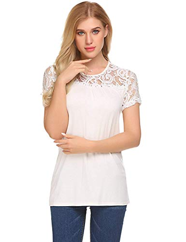BLUETIME Womens Short Sleeve Crochet Splice Casual T-Shirt Blouse Lace Tops (S, Beige) (Lace Tunic Beige)