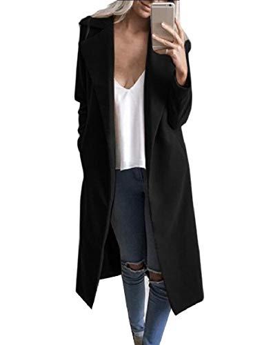 Howme-Women Autumn Lounge Classic Maxi Turn-Down Collar Open-Front Coat Black