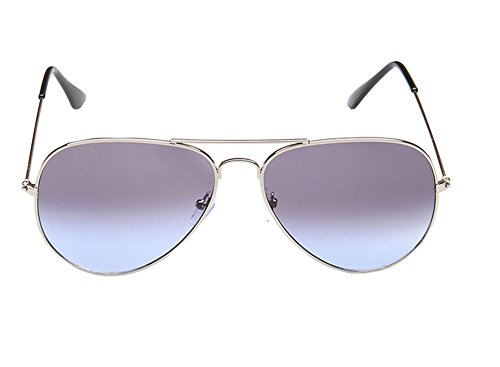 Genluna Premium Full Mirrored Aviator Sunglasses w/ Flash Mirror Lens Uv400 Free Silver-Grey Blue