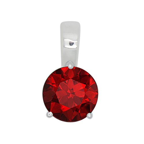 1.00 Ct Round Lab-Created Red Ruby 925 Sterling Silver 3 Prong Solitaire Pendant Without Chain For Women's