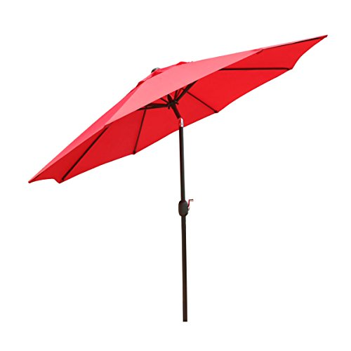 Goldsun Patio 9 Ft Market Outdoor Aluminum Table Patio Umbrella with Push Button Tilt and Crank (Red) For Sale
