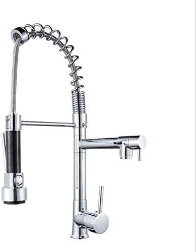 飲料水フィルタータップシングルレベル銅キッチンシンクの蛇口付きプルダウンスプレーヤーシングルハンドルハイアークブラシニッケルキッチン水栓