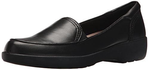 Easy Spirit Women's Karin Slip-on Loafer, Black/Black Leather, 8.5 M US
