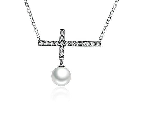 Collares Cadenas de Mujer Moda 2018 Joyería Fina 45 CM Link Chain Fashion Cross Pendant Necklace For Women CO0016 (Cross Dia Necklace)