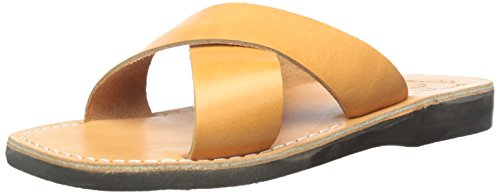 Jerusalem Sandals Men's Elan Slide Sandal, Tan, 43 EU/10-10.5 M (Tan Ancient Treasures)