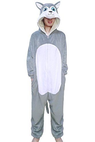 Lifeye Adult Husky Dog Pajamas Animal Cosplay Costume Gray ()