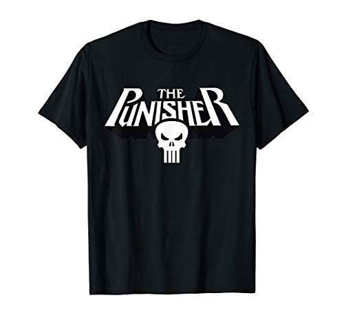 Marvel The Punisher Retro Classic Logo Clean Graphic T-Shirt
