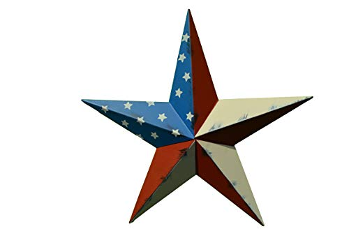 40 Inch Rustic American Americana Flag Barn Star Made with Galvanized Metal to Prevent Rusting. Amish Hand Made Your Source for Heavy Duty Metal Tin Barn Stars and Primitive Style Stars for Your Country Crafts and Home and Garden Decor. American Handcrafted - Made in the Usa! ()