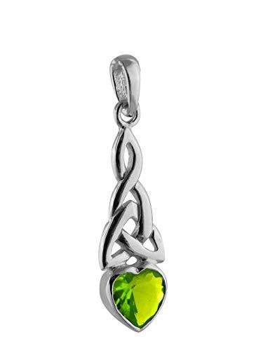 (Trinity Heart Pendant - 925 Sterling Silver Celtic Peridot August Birthstone - Jewelry Accessories Key Chain Bracelets Crafting Bracelet Necklace Pendants)