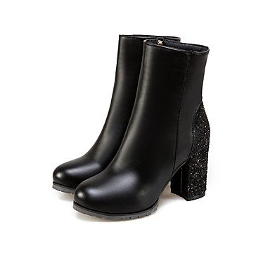 QTZS QTZS QTZS Frauen 's Schuhe funkelnden Glitter Nubukleder Herbst Winter Komfort Mode Stiefel Round toe booties/Stiefeletten für Hochzeit Party & Amp, Schwarz, EU/US8.5 39/UK6.5/CN 40 - 7809bf