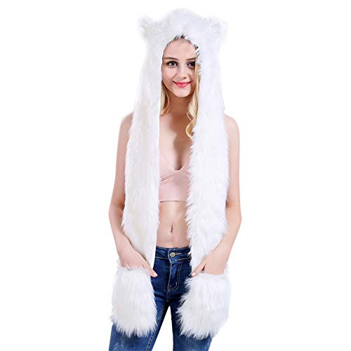 Hat Cap Gloves,G-real Unisex Faux Fur Personalize Animal Cartoon Scarf Pocket