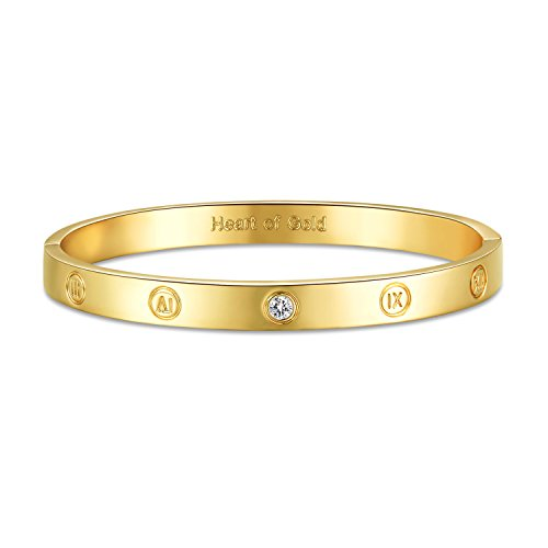 GuqiGuli 14k Yellow Gold Plated Fashion Idiom Hinged Bangle Bracelets for Women and Girls, - Bracelet Locking
