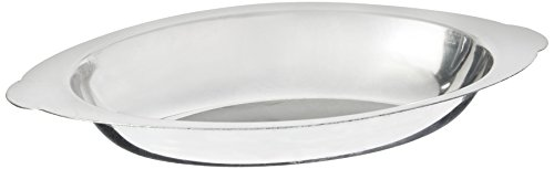 Winco ADO-8 Stainless Steel Oval Au Gratin Dish, 8-Ounce