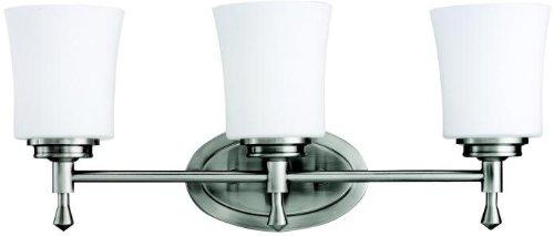 (Kichler 5361NI Wharton Bath 3-Light, Brushed Nickel)