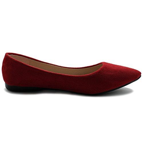 Ollio Femmes Ballet Confort Lumière Faux Suède Multi Couleur Chaussure Plat Rouge