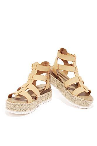 SODA Embassy Women's Open Toe Ankle Strap Espadrille Sandal (7.5 M US, Nude PU) - Heel Gladiator Sandals