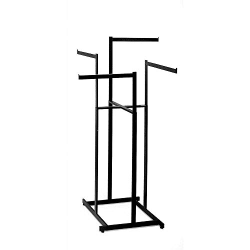 Clothing Rack - Black 4 Way Rack, High Capacity, Blade Arms, Square Tubing, Perfect for Clothing Store Display With 4 Straight Arms