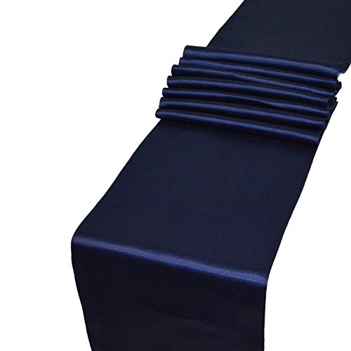 Parfair Dessin Pack of 10 Satin Table Runners 12 x 108 inch for Wedding Banquet Reception Party Decoration, Bright Silk and Smooth Fabric Party Table Runner - Navy Blue ()