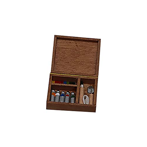SGYH 1:12 Miniature Wood Watercolor Box Tools Kit Dollhouse Decoration Accessories Children Simulation Play Dolls Toy (As (Best Traditional Violin With Cases)