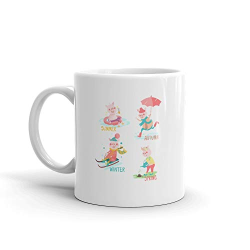 - Cartoon Funny Pigs With Seasonal Activity Set Summer Autumn Winter Spring Funny Mugs 11 Oz Ceramic