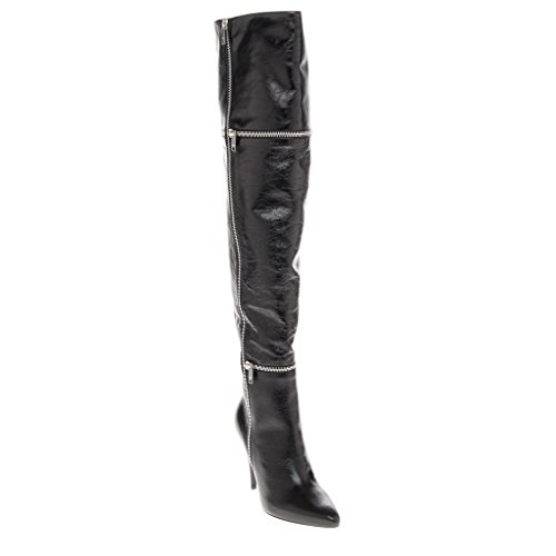 Wrap Around Zipper (Saint Laurent Women's Over Knee High Shine Heel Boot w/ 2 Wrap Around Zippers Leather Black EU 39 (US 9))
