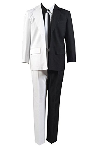 mingL Halloween Cosplay Harvey Dent Coin Costume Two-Face Uniform (Two Face Batman Mask)