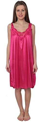 Beverly Rock Women's Tricot Sleeveless Long Nightgown BX96 Magenta 2X