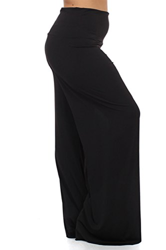 Plus Size Women's High Wasist Stretchy Solid Palazzo Pants 3X Black