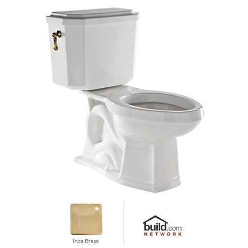 Rohl U.KIT132-IB Deco 1.6GPF Elongated Toilet with 12'' Rough in and Flush Lever, Inca Brass by Rohl