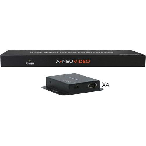 A-NeuVideo HDMI POE 1x4 Splitter over Cat5e/6 Extender with 4x Receiver, 164' Transmission Distance