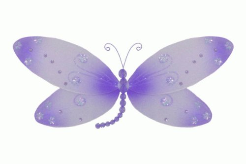 (The Butterfly Grove Skylar Dragonfly Decoration 3D Hanging Mesh Organza Nylon Decor, Purple Wisteria, , 17