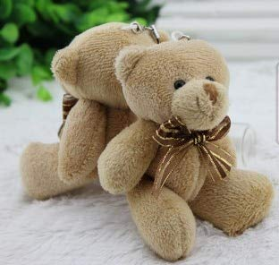ForteGlo 11-12cm - 50pieces/lot 12cm Brown Ribbon Bear Cartoon Bouquet Bear Doll Plush Joints Naked Teddy Bear Doll Mini Bear Doll 1 PCs from ForteGlo
