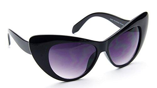 Womens Retro Vintage Cateye Oversize Sunglasses Black Plastic Frame Nikita 60s Fashion - 60s Inspired Fashion