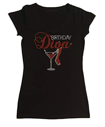 T-shirt Diva Rhinestone - Women's T-Shirt with Birthday Diva Heel with Martini in Rhinestones(Black Cap Sleeve,Large)