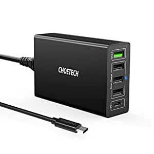 2019 Upgraded CHOETECH USB-C PD Charger, 5-Port 60W Wall Charger with 30W Power Delivery and 18W Quick Charge 3.0 Compatible with MacBook, iPad Pro, iPhone Xs Max Xr X 8, iPad, Samsung Galaxy Note9 S10
