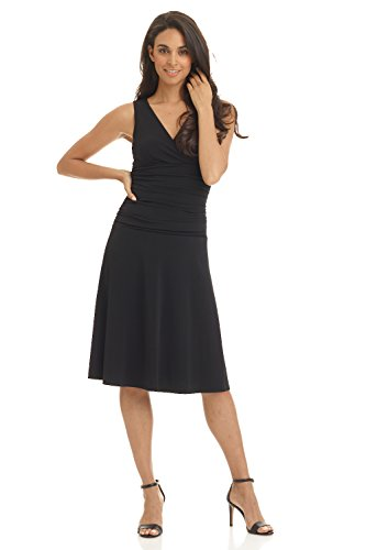 Rekucci Women's Slimming Sleeveless Fit-and-Flare Tummy Control Dress (12,Black)