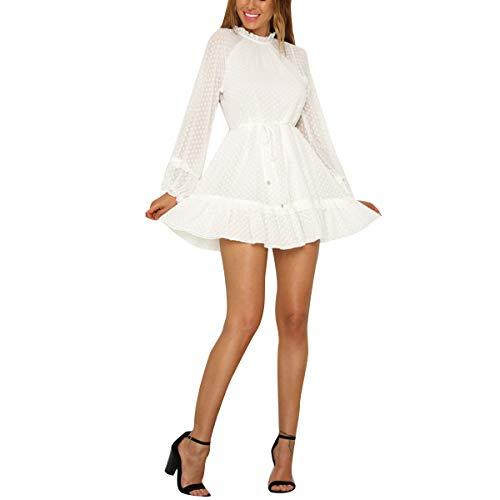 (Polka Dot Sheer Backless Dress Women Mini Lantern Sleeve Skater Dress (Color : White, Size : XL))