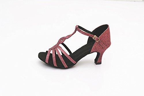 Zapatos mujer Zapatos de zapatos latino para Ladies salón ShangYi cuadrados adultos de modernos zapatos baile Zapatos para altura baile de baile latinos de 7 cm púrpura baile de con 8ZxwqR