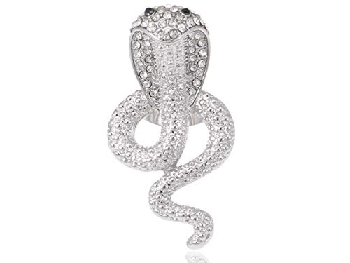 Shiny Silver Tone Poison Cobra Snake Clear Crystal Rhinestone Adjustable Ring