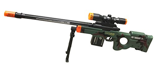 AW50 Sniper Military Combat Toy Machine Gun with Colorful LED Light and Sound Effect by Quest Toys
