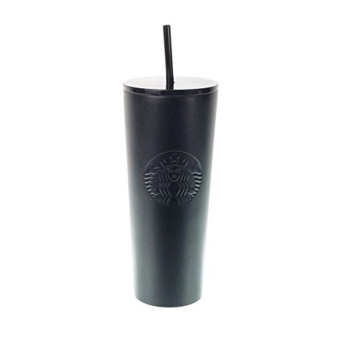 (Starbucks Stainless Steel 24-Ounce Double Walled Cold Cup Tumbler Plastic Lid 2018 (Matte Black))